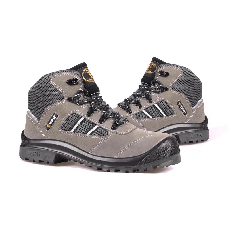 0ffdc4ddd62 KPR M027G Mid Cut Grey Suede Lace Up Safety Sports Shoe | King Power